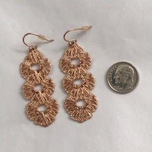 Stella & Dot rose gold filigree drop earrings.
